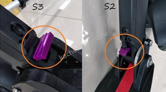 Сравнение кнопки складывания самоката S2 и S2