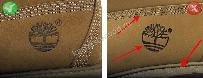 Логотип на оригинальной и поддельной обуви Тимберленд