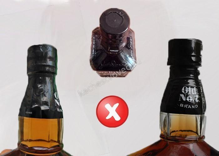 Как выглядит поддельное горло на бутылке виски Джек Дэниелс