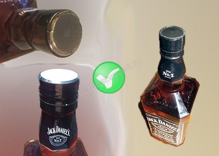 Как выглядит оригинальная пробка, горло на бутылке виски Джек Дэниелс