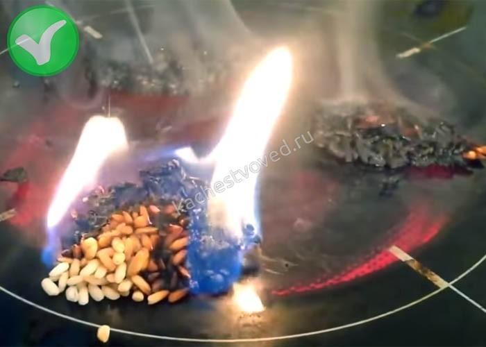 Горит рис при нагревании настоящий