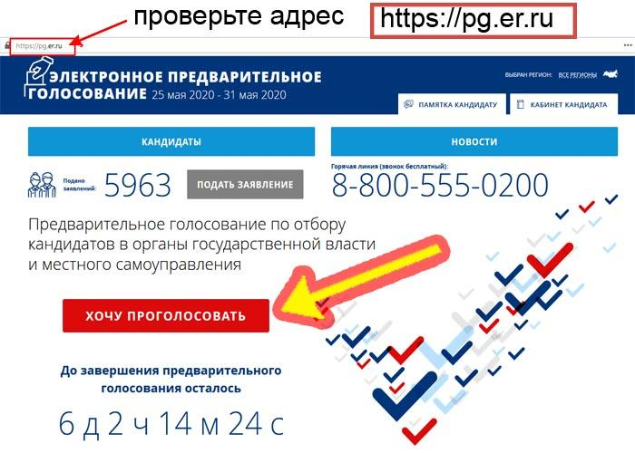 Как проголосовать предварительно 2020 на сайте pg er ru