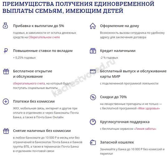 как получить бонусные 1000 рублей от Почта банк на школьные выплаты
